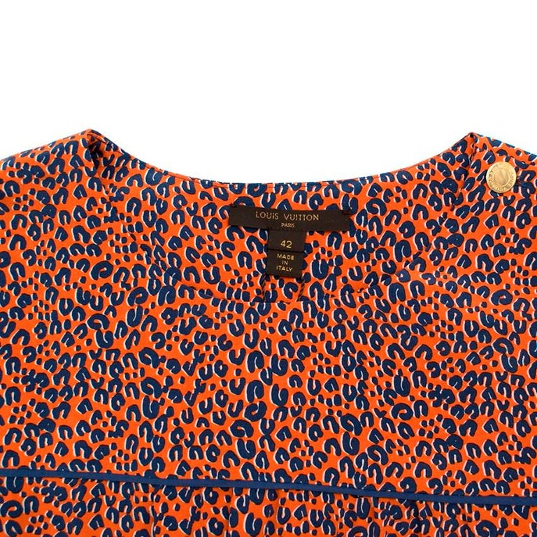 Louis Vuitton Orange Leopard Print Silk Draped Short Sleeve Dress - Size US 10 In New Condition For Sale In London, GB