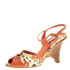 Louis Vuitton Orange Motif Printed Fabric and Leather Ankle Strap Sandals Size 3