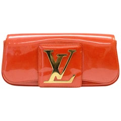 Louis Vuitton Orange Patent Leather 'LV Initiales Clutch Bag 26cm