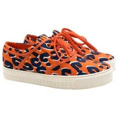 Louis Vuitton Orange Patterned Trainers Size 38