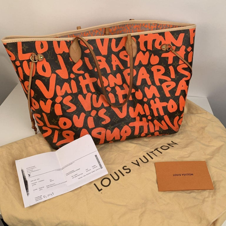 Louis Vuitton Orange Stephen Sprouse Graffiti Neverfull GM Tote Bag For Sale 8
