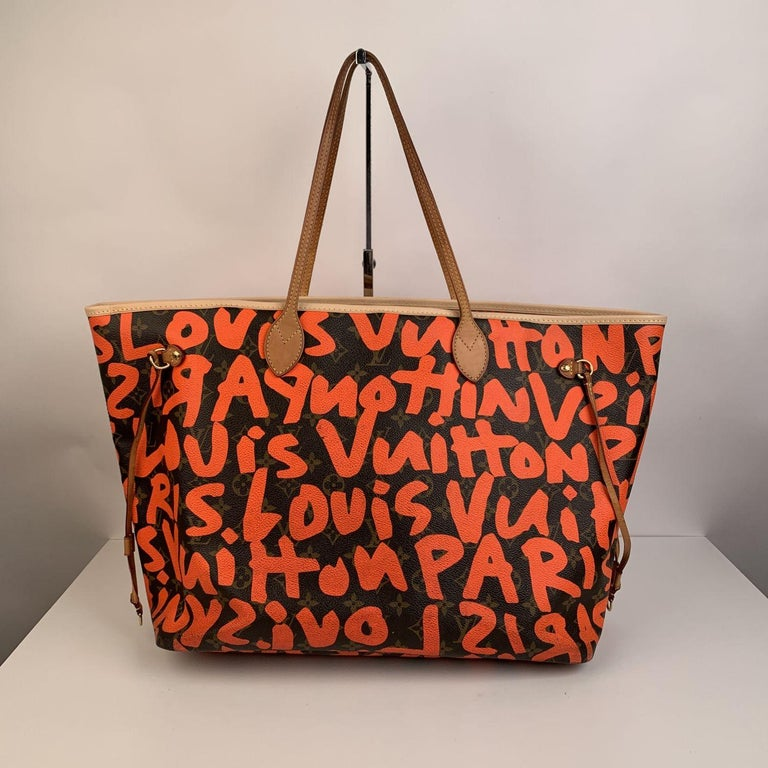 Louis Vuitton Orange Stephen Sprouse Graffiti Neverfull GM Tote Bag In Excellent Condition For Sale In Rome, Rome