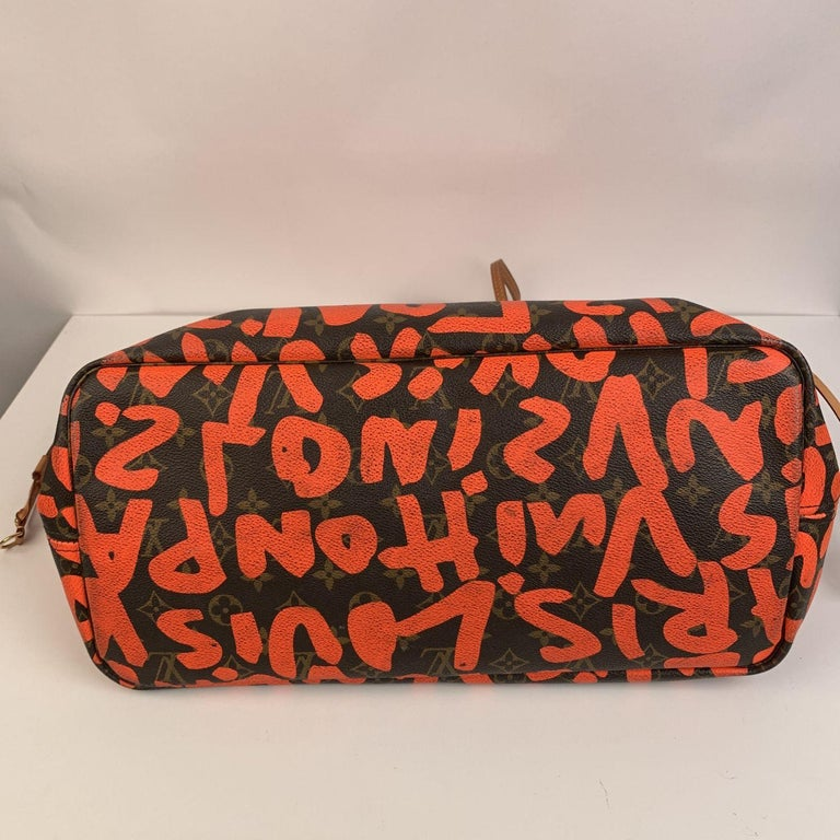 Women's Louis Vuitton Orange Stephen Sprouse Graffiti Neverfull GM Tote Bag For Sale