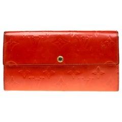 Louis Vuitton Orange Sunset Monogram Vernis Porte Tresor International Wallet