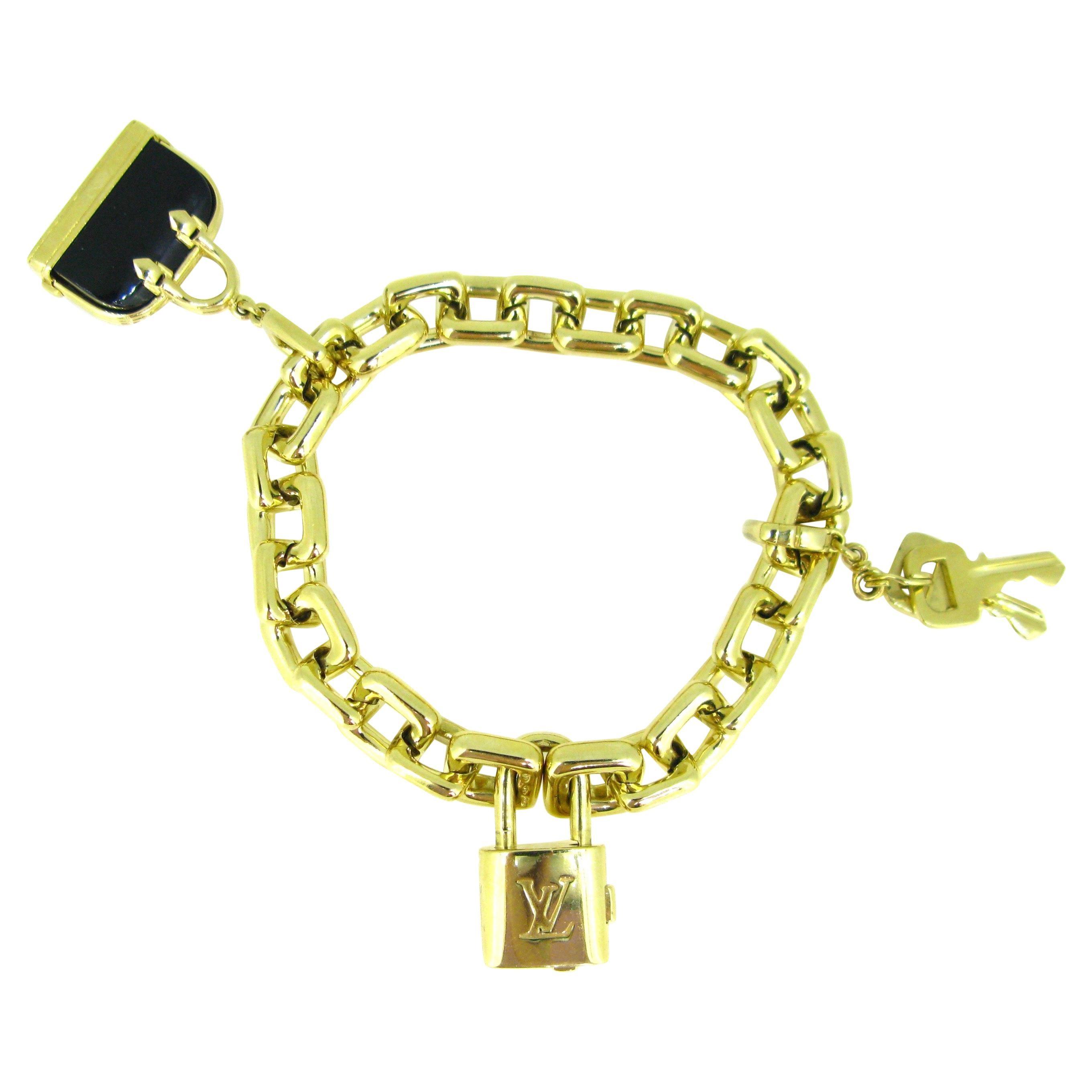 Louis Vuitton Padlock Key Onyx Bag Yellow Gold Charm Link Bracelet