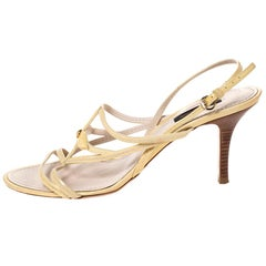 Louis Vuitton Pale Yellow Patent Leather Ankle Strap Sandals Size 39