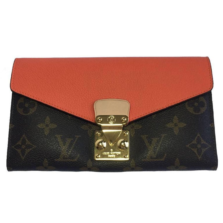 LOUIS VUITTON 'Pallas' Wallet in Brown Monogram Canvas and Coral Leather