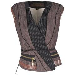 Louis Vuitton Paneled Leather Trim Corded Tie Detail Wrap Vest M