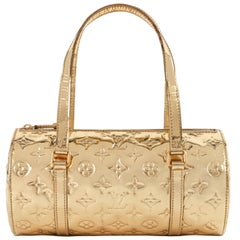 "LOUIS VUITTON ""Papillion Bedford"" Metallic Gold Miroir Vernis Monogram Handbag"