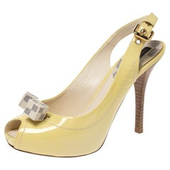 Louis Vuitton Patent Leather New Saint Honore Slingback Platfrom Sandals Size 36