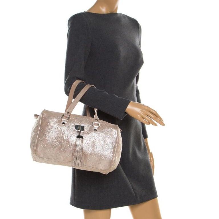 Beige Louis Vuitton Peach Monogram Limited Edition Shimmer Comete Bag