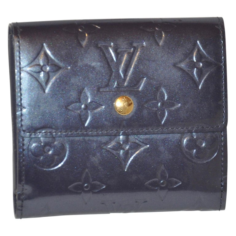 Louis Vuitton Pearl-Steel Signature Monogram Credit-Card and Change Wallet For Sale