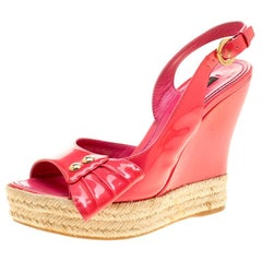 Louis Vuitton Peep Toe Espadrille Wedge Slingback Sandals Size 37