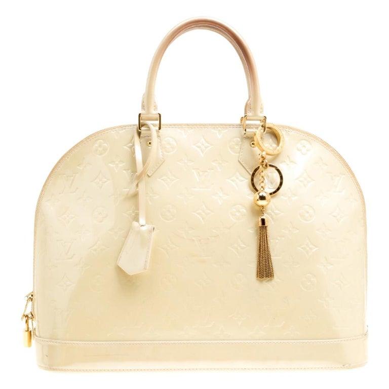 Louis Vuitton Perle Monogram Vernis Alma GM Bag For Sale