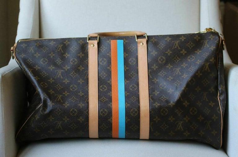 Black Louis Vuitton Personalised Keepall 55 Mon Monogram Travel Bag For Sale