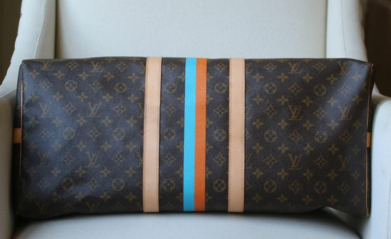 Louis Vuitton Personalised Keepall 55 Mon Monogram Travel Bag In Excellent Condition For Sale In London, GB