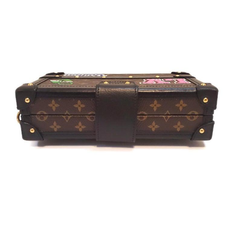 Women's Louis Vuitton Petite Malle Patches Stories Brown Monogram Crossbody Handbag For Sale