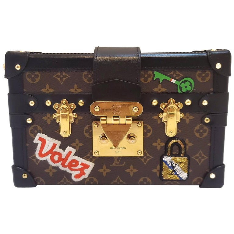 Louis Vuitton Petite Malle Patches Stories Brown Monogram Crossbody Handbag For Sale