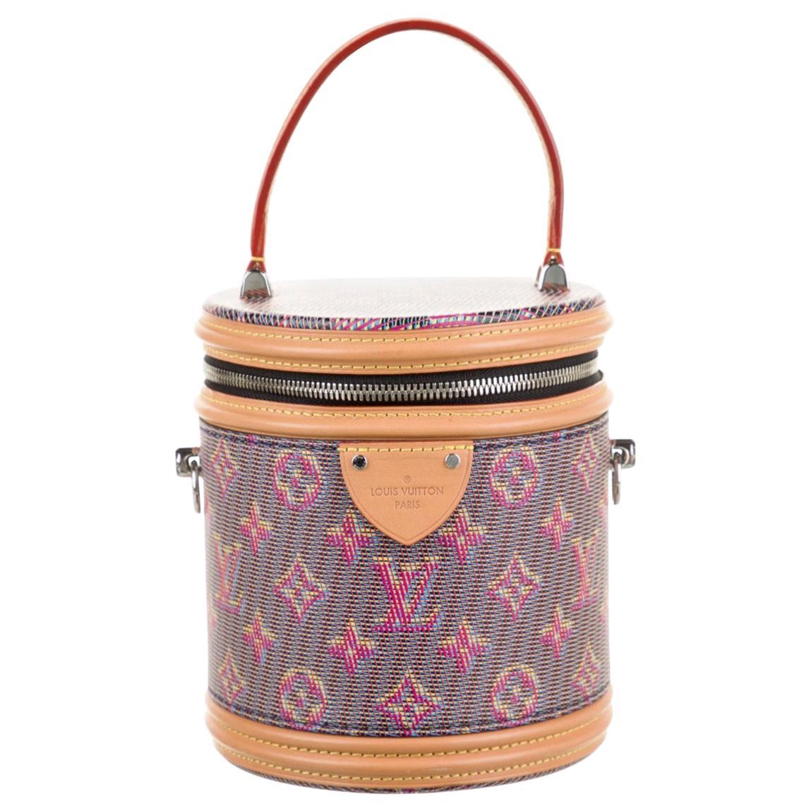 Louis Vuitton Pink Blue Cognac Monogram Leather Top Handle Satchel Shoulder Bag