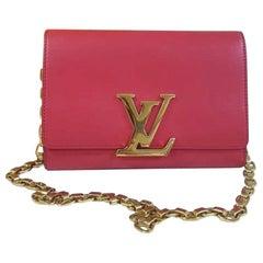 Louis Vuitton Pink Calfskin Leather Chain Louise GM Bag