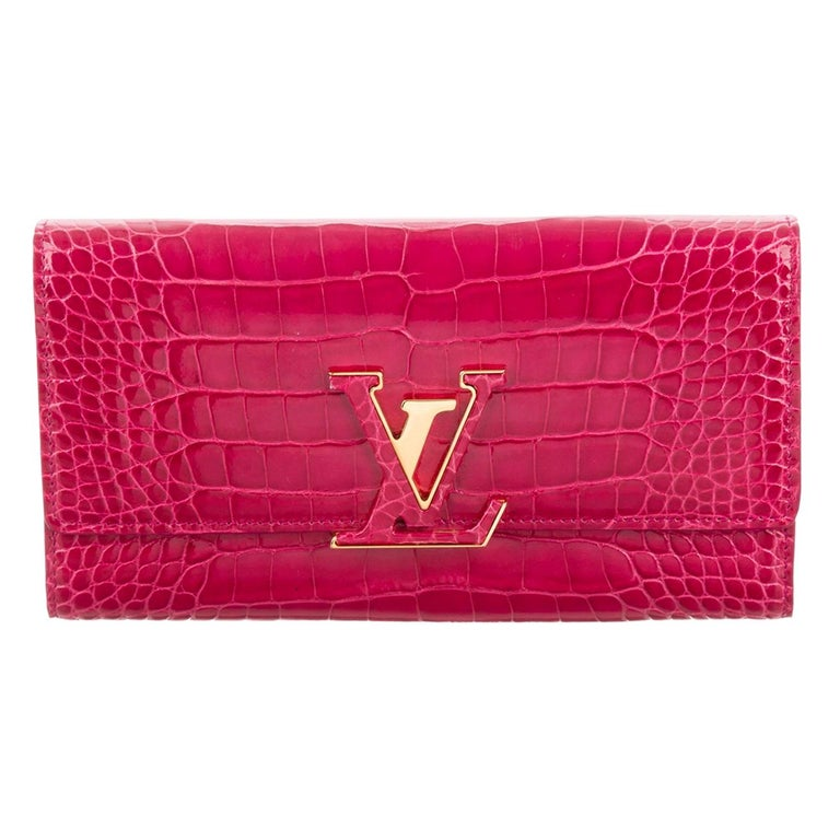 Louis Vuitton Pink Crocodile Exotic Leather Logo Charm Evening Clutch Wallet For Sale