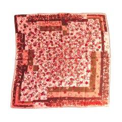 Louis Vuitton Pink Flower Silk Small Scarf