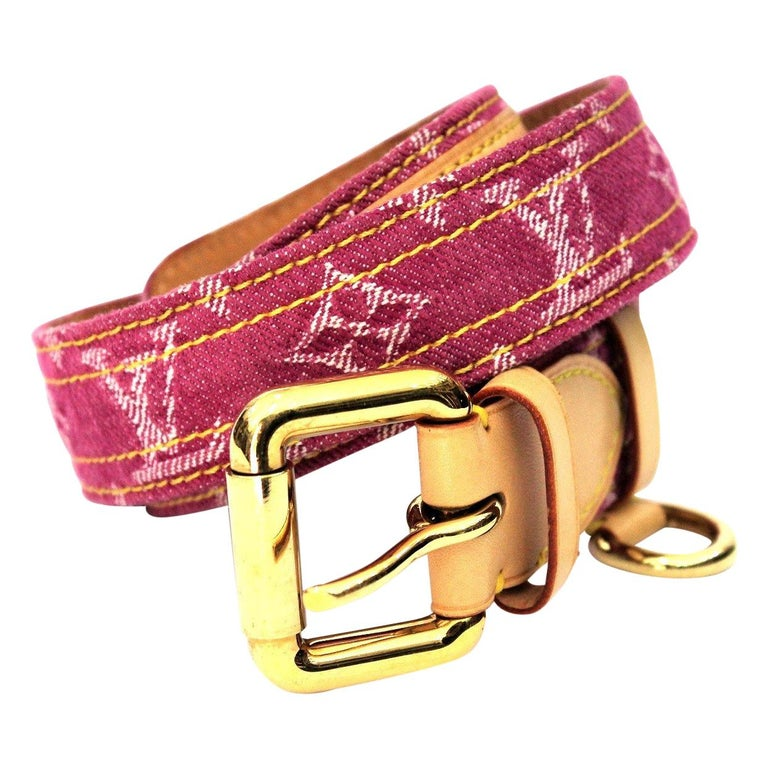 93c1846673fb Louis Vuitton Pink Monogram Denim Belt For Sale at 1stdibs