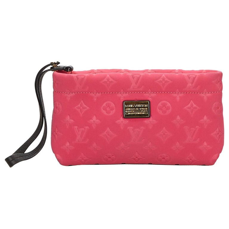 ff100b50ad48 Louis Vuitton Pink Monogram Embossed Scuba Clutch at 1stdibs