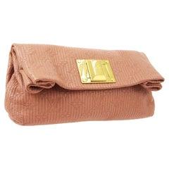 Louis Vuitton Pink Monogram Leather Gold Foldover Envelope Evening Clutch Bag