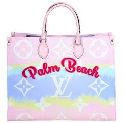 Louis Vuitton Pink Pastel Ltd Edt Palm Beach Monogram Escale Onthego GM Tote Bag