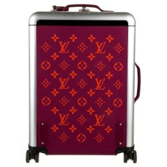 Louis Vuitton Pink Purple Logo Fabric Women's Carryon Travel Roller Bag Suitcase