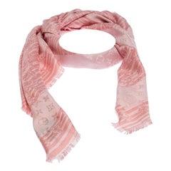 Louis Vuitton Pink Striped Cryptogram Monogram Silk Blend Shawl