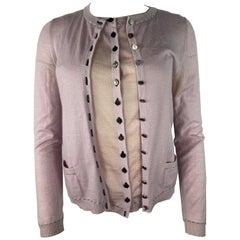 Louis Vuitton Pink Vest and Cardigan Set, Size Medium