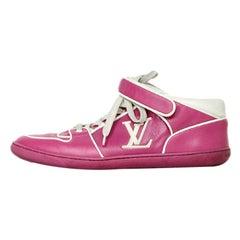 Louis Vuitton Pink/White Leather Logo Sneakers sz 36.5