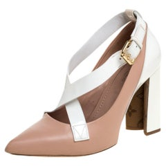 Louis Vuitton Pink/White Patent and Leather MatchMake Cross Pumps Size 37