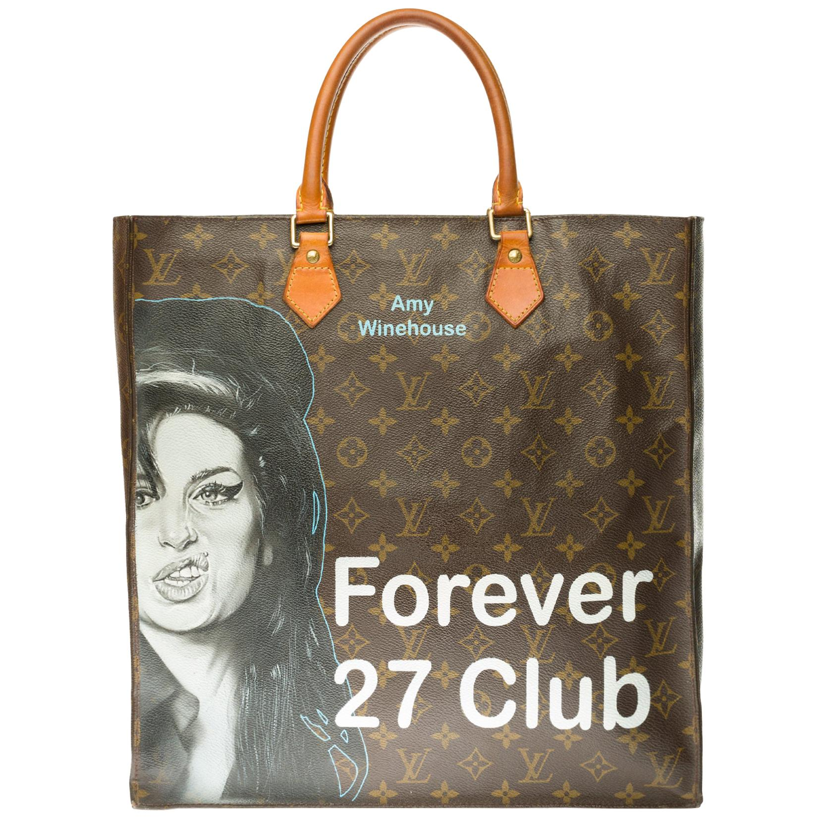 """Louis Vuitton Plat handbag in brown monogram canvas customized """"Amy Forever"""""""