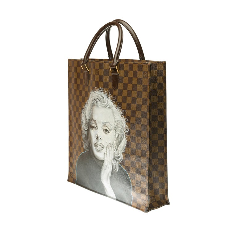 Brown Louis Vuitton Plat handbag in ebony checker canvas customized