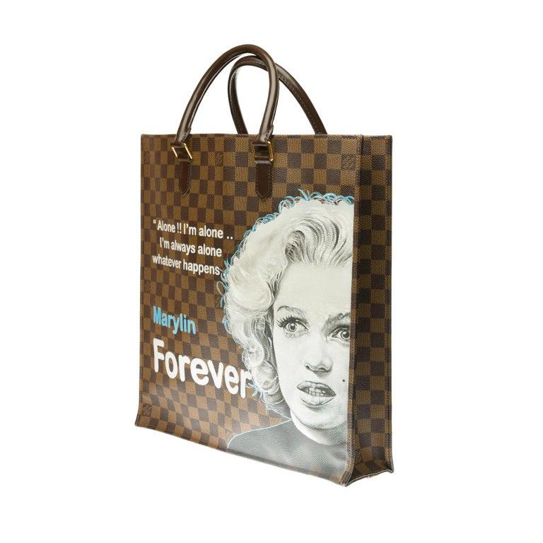 Louis Vuitton Plat handbag in ebony checker canvas customized