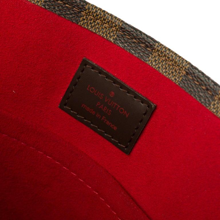 Women's Louis Vuitton Plat handbag in ebony checker canvas customized