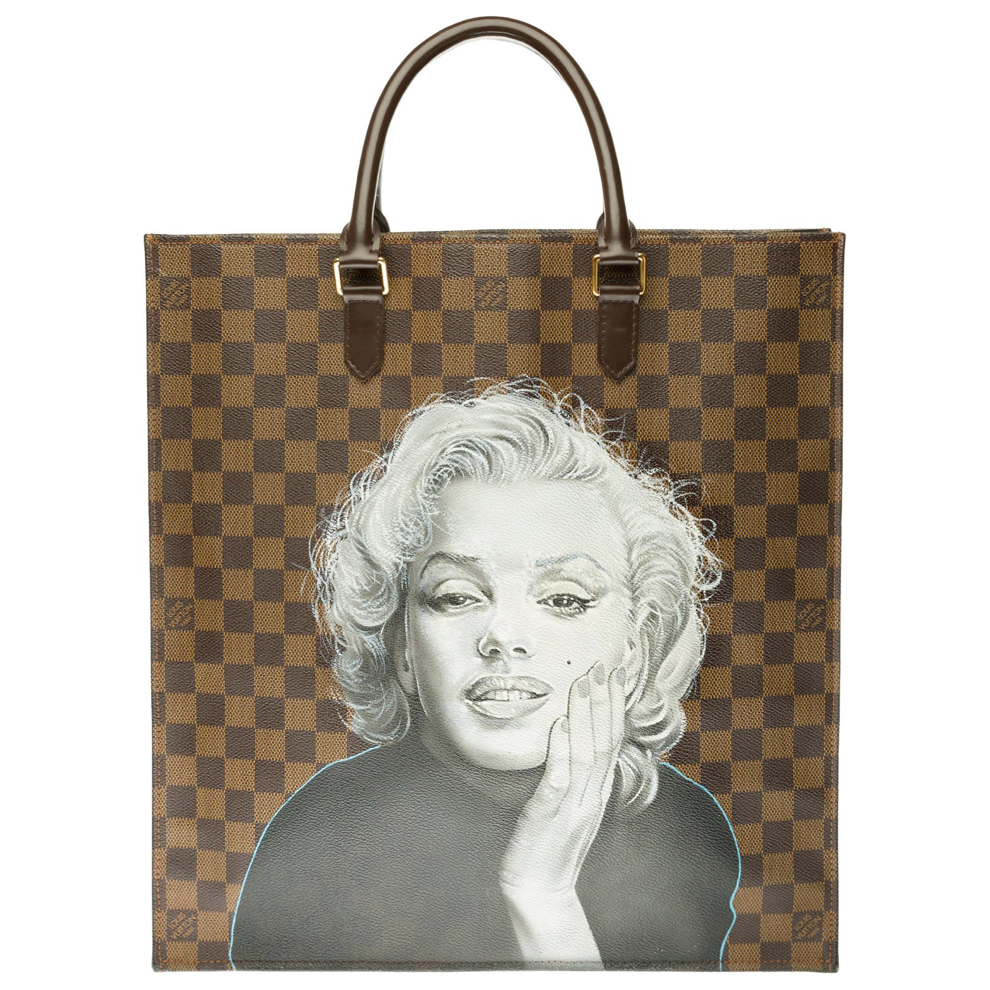 "Louis Vuitton Plat handbag in ebony checker canvas customized ""Marilyn Forever"""