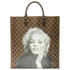 "Louis Vuitton Plat handbag in ebony checker canvas customized ""Marilyn Forever"""