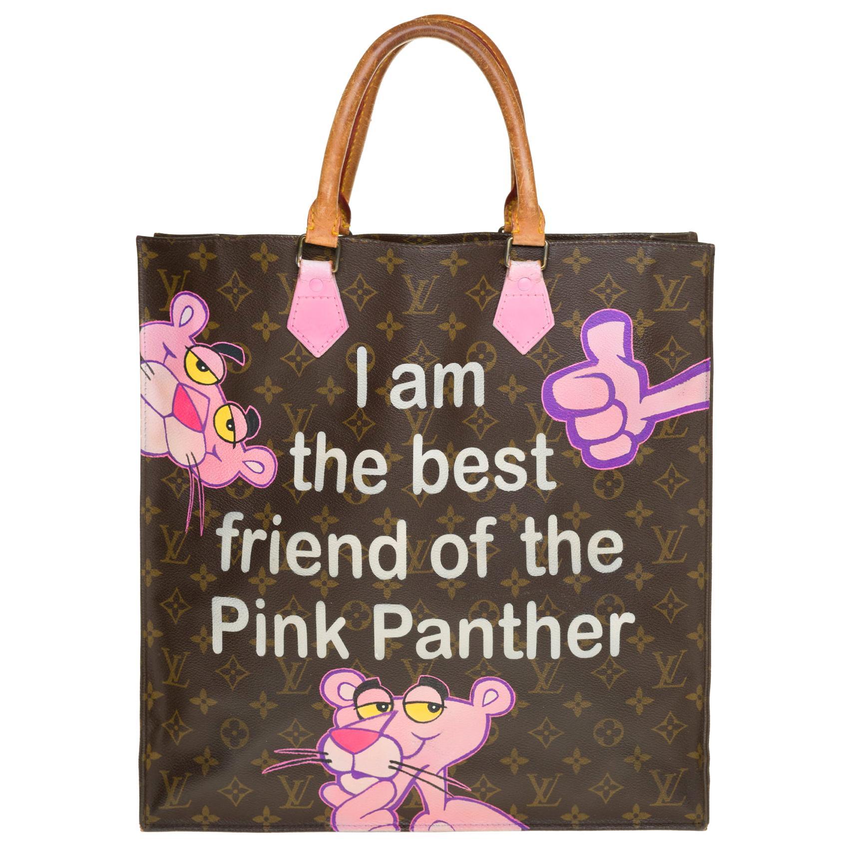 """Louis Vuitton Plat handbag in Monogram canvas customized """"Pink Panther III"""""""