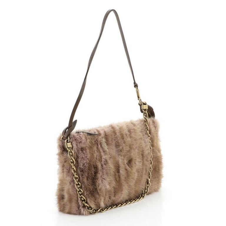 Louis Vuitton Pochette Accessoires Limited Edition Caresse Mink In Good Condition For Sale In New York, NY
