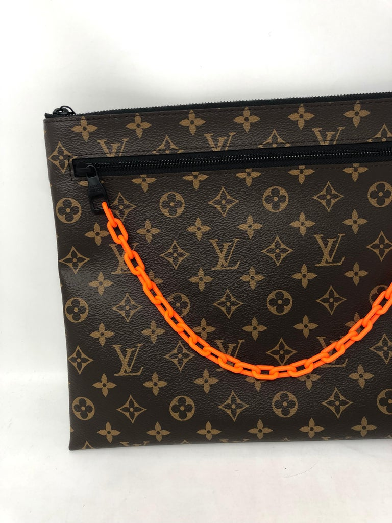 Louis Vuitton Pochette SS19 Virgil Abloh Monogram Chain Canvas Clutch. Brand New. Extremely limited from Pop Up at LV. Iconic piece from Virgil Abloh's first line at Louis Vuitton. Unisex design can be used as a laptop holder or clutch. Includes
