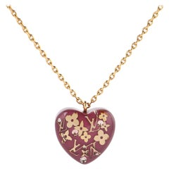"""LOUIS VUITTON Pomme D'Amour """"Inclusion"""" LV Monogram Resin Heart Pendant Necklace"""