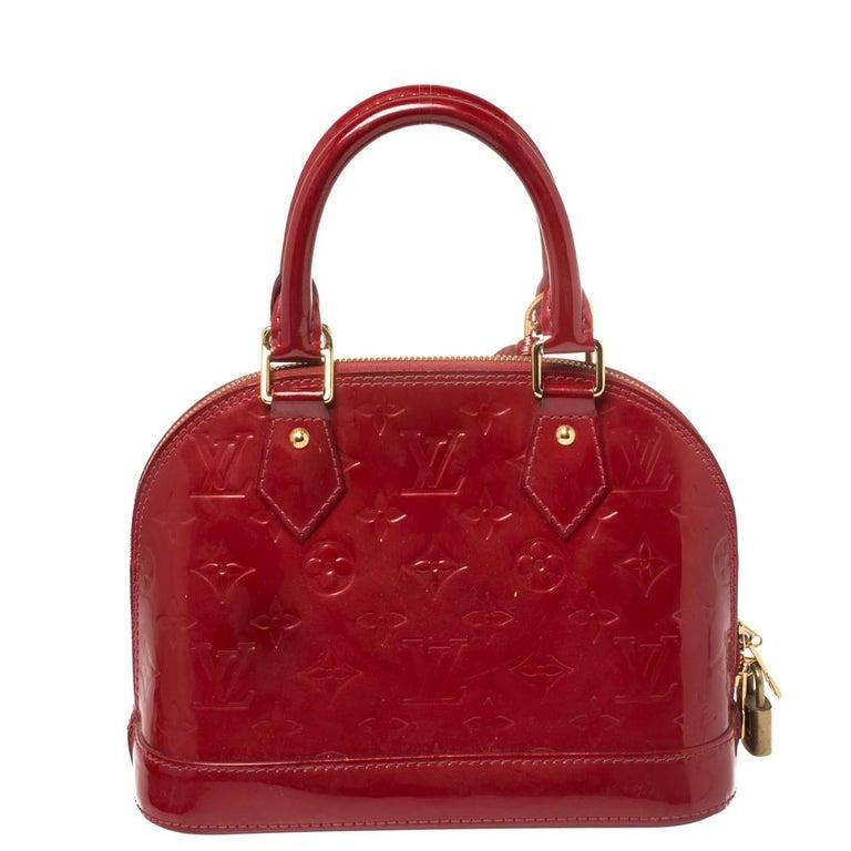 Red Louis Vuitton Pomme D'amour Monogram Vernis Alma BB Bag