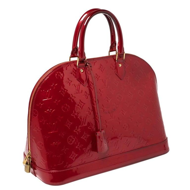 Red Louis Vuitton Pomme D'amour Monogram Vernis Alma GM Bag For Sale