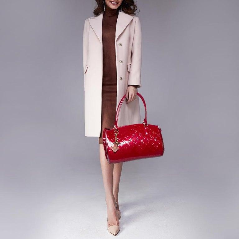 Red Louis Vuitton Pomme D'Amour Monogram Vernis Montana Bag For Sale