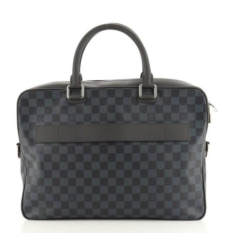 Black Louis Vuitton Porte-Documents Business Bag Damier Cobalt For Sale
