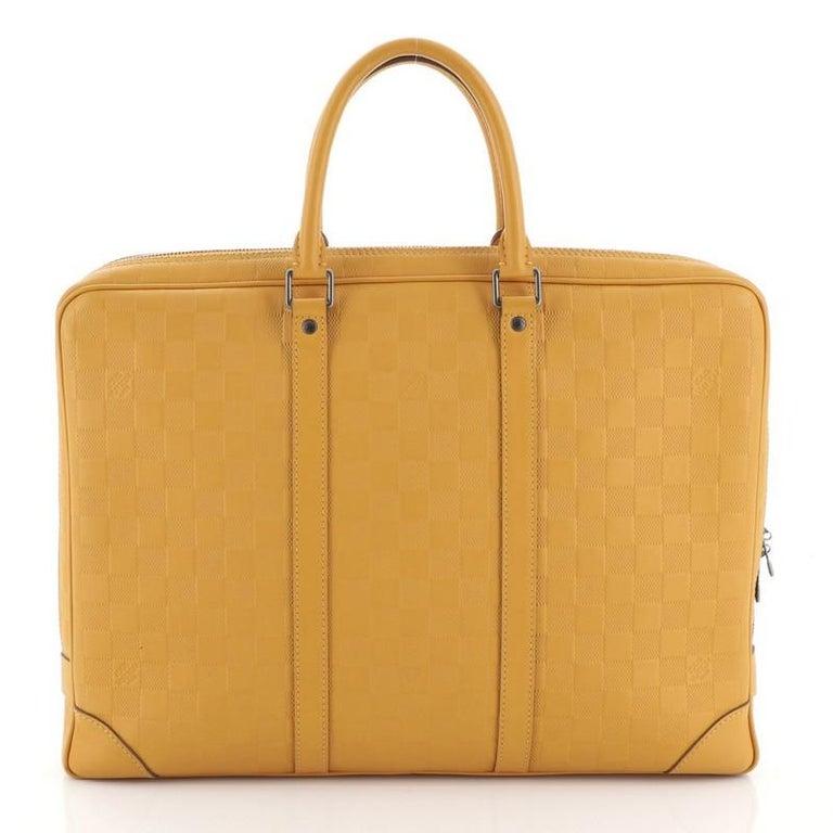 Orange Louis Vuitton Porte-Documents Voyage Briefcase Damier Infini Leather For Sale